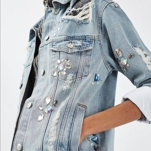 Topshop ripped denim/jean jacket w crystal stone